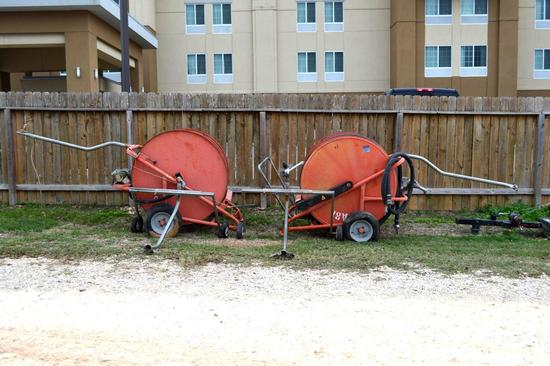 Irrigation Reels and Stands - 2 of each - 4 Total
