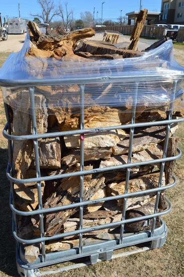 Metal Crate filled w/ cut Oak - 1/2 Cord
