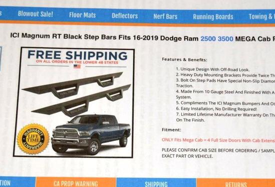ICI Magnum RT Black Step Bar, fits 2016-2019 Dodge *NEW IN BOX*