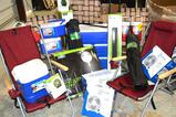 Assorted Camping Gear - lawn chairs, coolers, cooler bags, fans, reusable water bottles