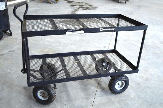 Strongway Double Deck Wagon w/Rubber Tires 700lbs - Hunting/Feed/Plants/Crafts/Hay/Equipment