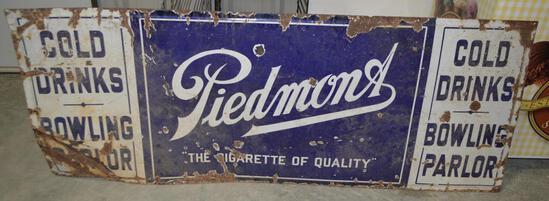 Antique/Vintage Piedmont Cigarette Tin Sign - Bowling/Parlor/Drinks