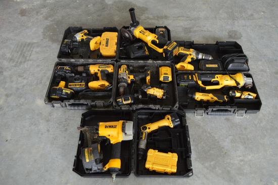 9 pcs - Dewalt Battery Power Hand Tool Set -(2 Grinders, 6 Drills, 1 Nail Gun)