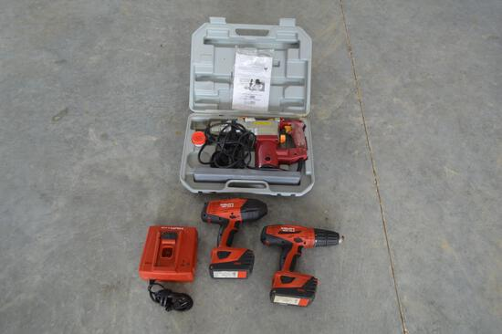 """1/2"""" Impact Battery Hilti Drills, Chicago 1"""" Rotary Hammer, 2 Batteries & Charging Port"""