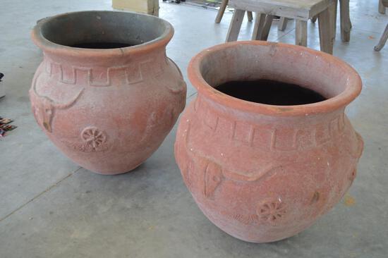 2 Large Western/Wagon Wheel/Cactus/Longhorn Terra Cotta Planting Pots - same size