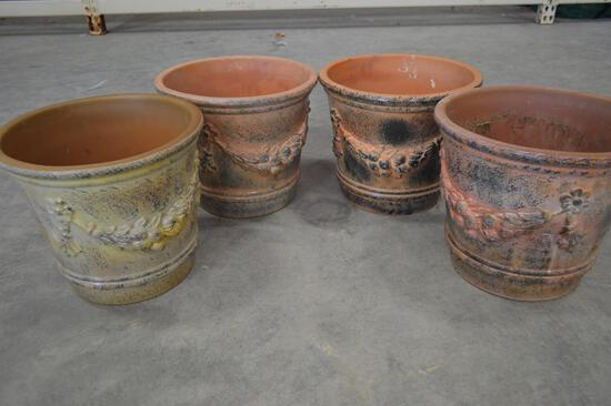 4 Matching Pottery/Planting/Garden Pots - w/Vino/Grape Vine
