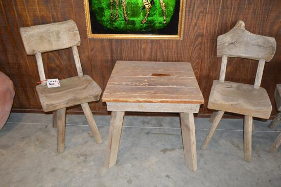 Solid Wood Small Table & 2 Wood Chairs