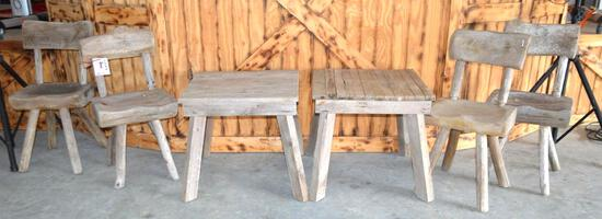2 Solid Wood Tables & 4 Wood Chairs