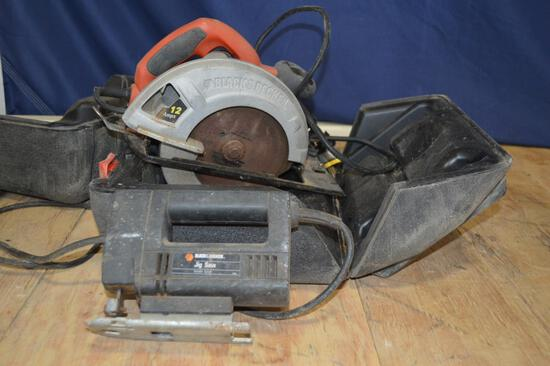 Black and Decker 12amp Skill Saw w/ Hard Case and Hand Held Jig Saw
