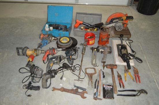 Assorted Power and Hand Tools, Drills/Staple Gun/Chpsaw/Bottle Jack/Concrete Nail Gun/Ect