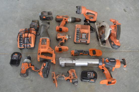 Ridgid Battery Powered Hand Tools - Batteries/Ports/Drimmel/Caulk Gun/Skill Saw/Flash Light