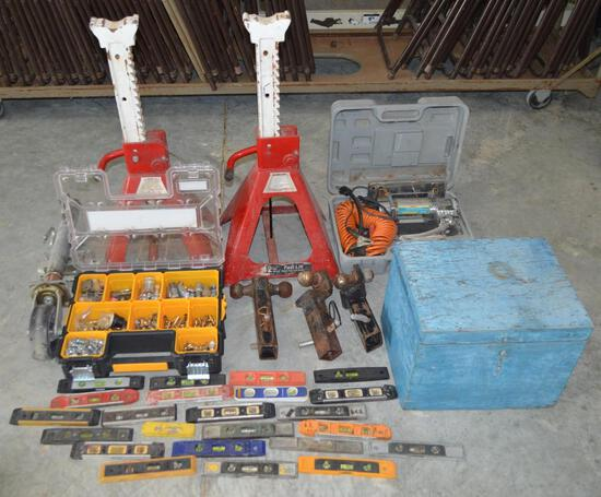 Assorted Tools - Jacks, Levels, Hithces, Winch