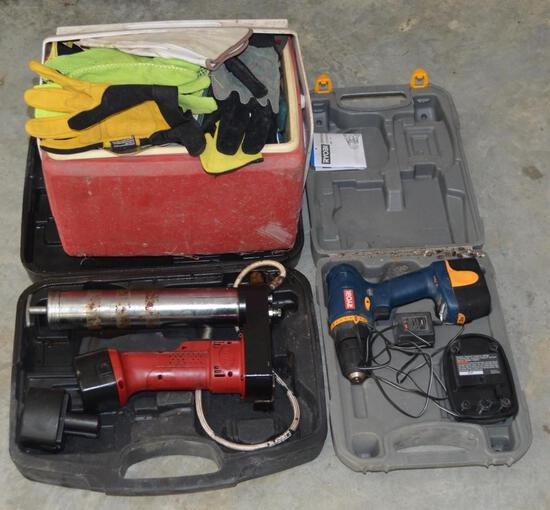Assorted Tools - Drill, Gloves, Lunchbox