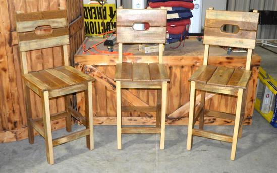 (3) Rustic Wooden Bar Stools W/Backs