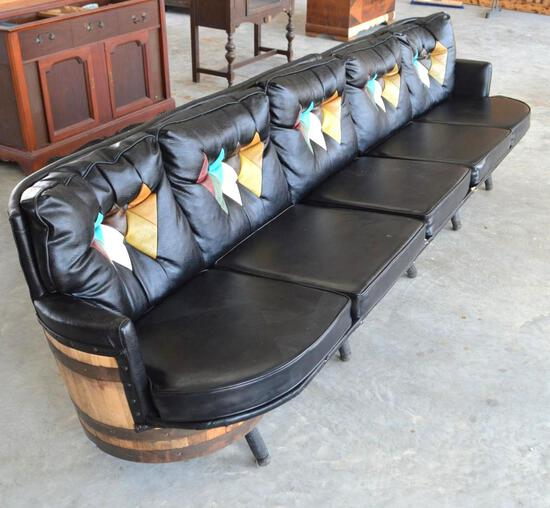 Retro Whiskey Barrel Custom Leather Couch, 2 sections