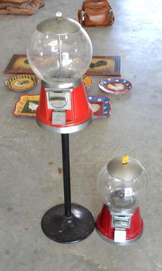 (2) Vintage Gumball Machines w/Keys