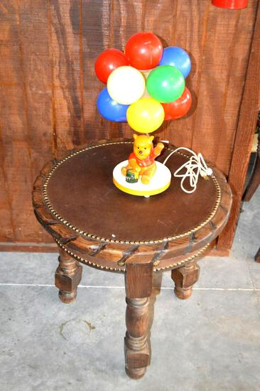 Rustic 3 Legged Leather Top Table W/ Vintage Winnie The Pooh Balloon Lamp