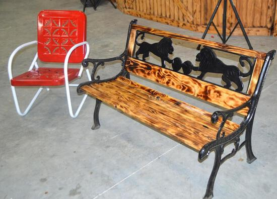 Rustic Bench & Vintage Chair