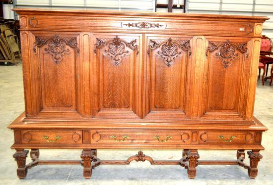 Antique Large Solid Wood Carved Buffet
