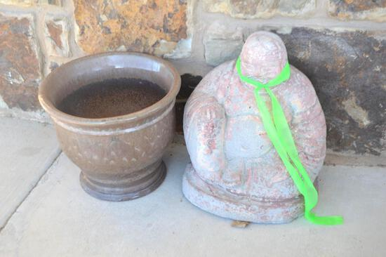 Buddha Statue & Small Plant Pot
