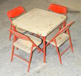 Children's Vintage Metal Folding Table W/4 Chairs