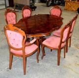 Antique Solid Wood Dining Table w/6 Custom Velvet Dining Chairs