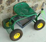 Green Heavy Duty Garden Planting Cart w/Tool Tray