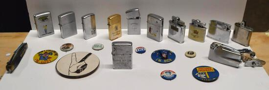 Vintage Collection Of Lighters & Vintage Pins