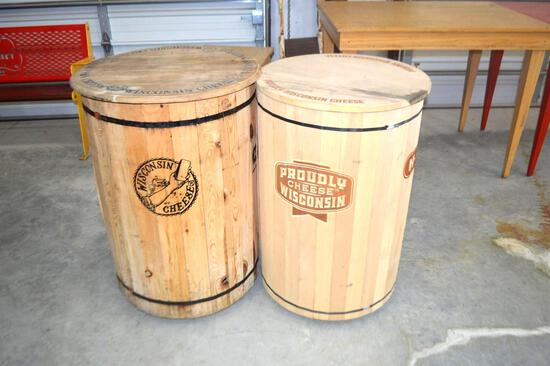 (2) Wooden Wisconsin Cheese Barrels