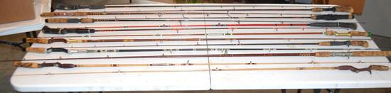 Lot Of (14) Various Fishing Rods