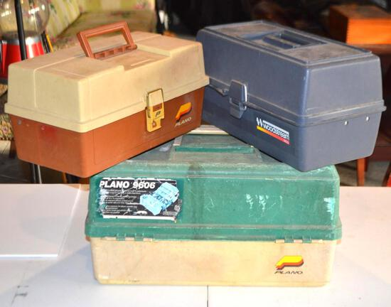 (3) Fishing Tackle Boxes W/Misc Fishing Tackle & Accessories