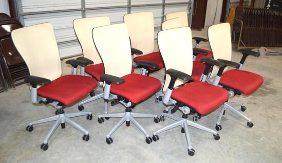 8 Red/Tan Rolling Office Chairs