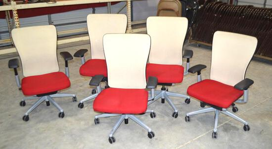 5 Red/Tan Rolling Office Chairs
