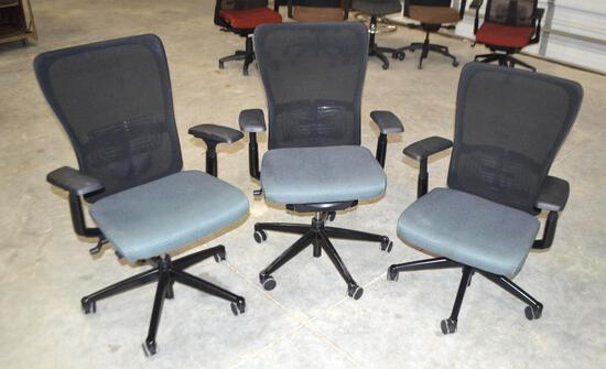 3 Black/Blue Rolling Office Chairs