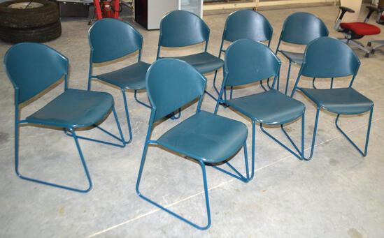 8 Blue Plastic Chairs