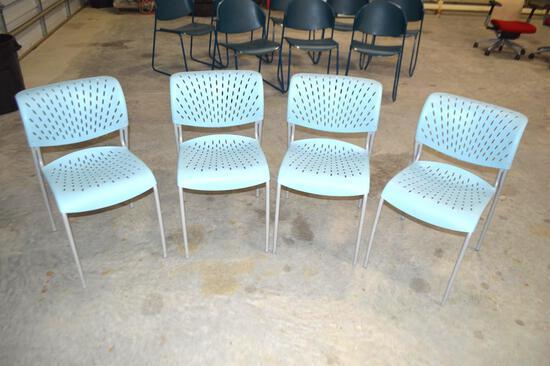 4 Aqua Blue Plastic Chairs
