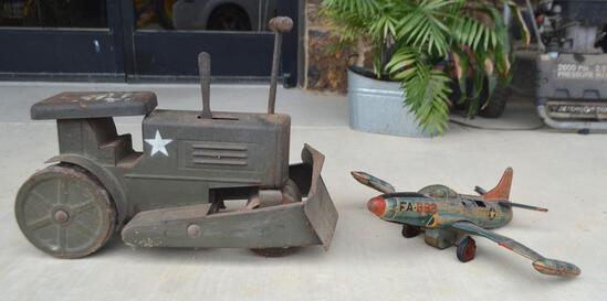 Vintage US Army Metal Toy Dozer & Vintage 1950 USAF FA-982 Jet