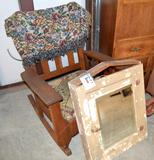 Wall Mount Mirrored Medicine Cabinet & Rocking Chair