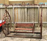 Rustic Metal Wagon Wheel Swing
