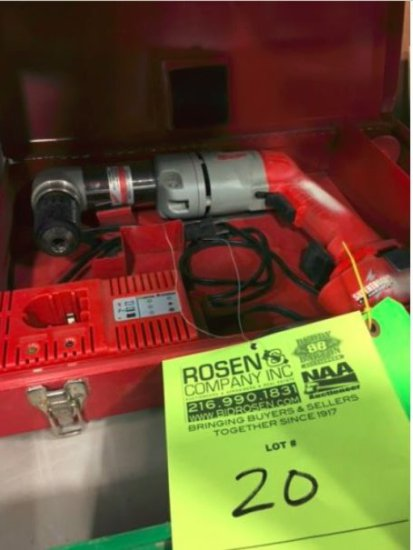 Milwaukee 12v cordless drill, charger and battery w/ right angle attachment