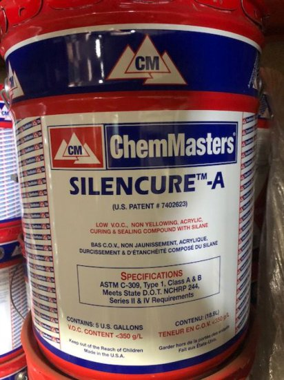 """(12) 5 gal buckets of """"Silencure -A acrylic curing and sealing compound w/ silane"""""""