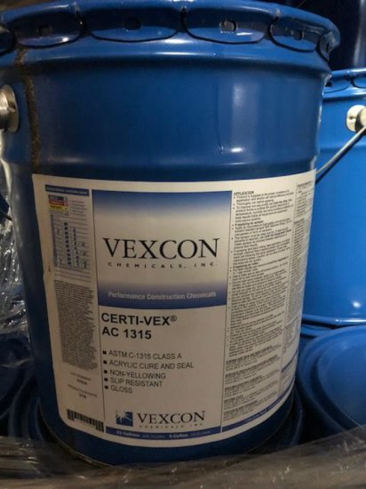 """(12) 5 gal buckets of Vexcon """"Certi-Vex AC 1315"""" acrylic cure and seal"""