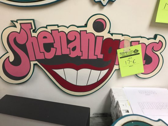 Shenanigan's wooden sign, 29 inches long