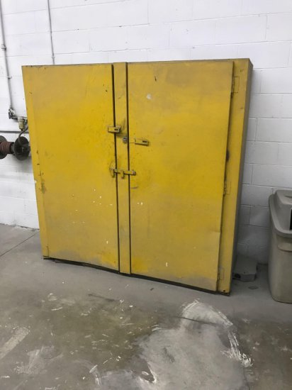 Yellow Cabinet, not marked as a Flammable Cabinet