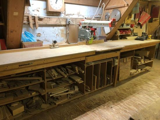 Omga Rm-450 radial arm saw with 15 foot work table