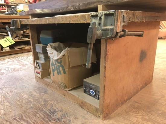 Wooden work surface with two mounts vintage vices