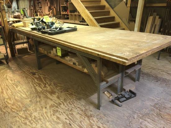 Large metal base, wood top work surface