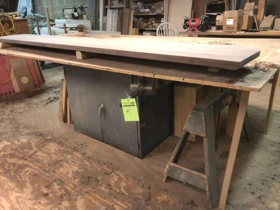 Metal cabinet wood surface work station