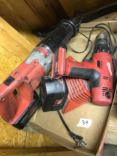 18V Milwaukee Drill and Sawzall, with charger. Batteries need replaced, buying bare tools and