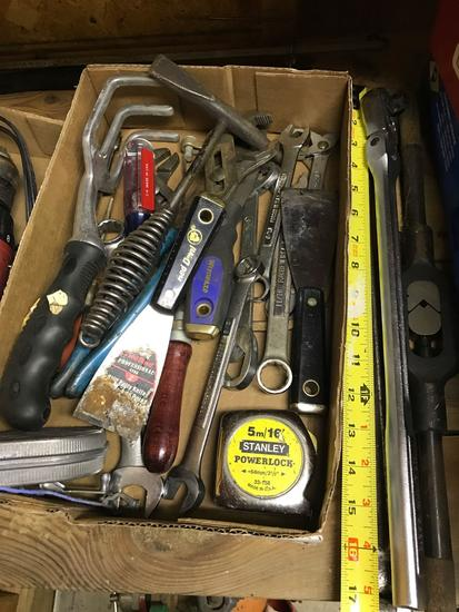 Flat of Hand Tools, includes an 18 inch Craftsman 3/8 ratchet, and more